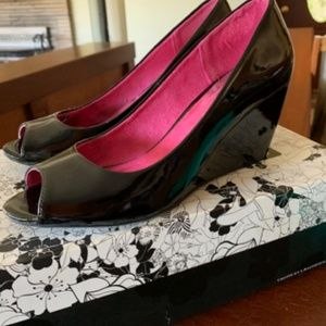 Black Patent Wedges - great condition